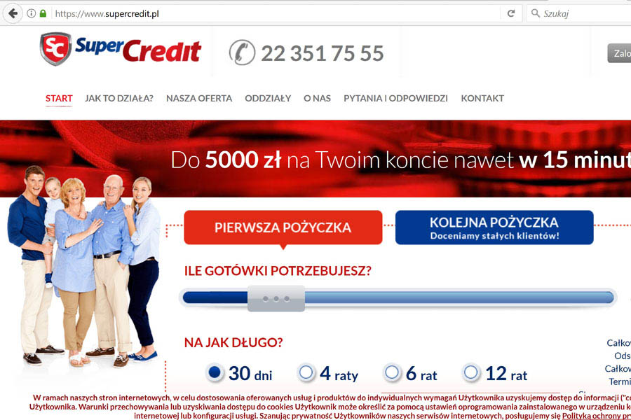 Szybkie kredyty on-line SuperCredit
